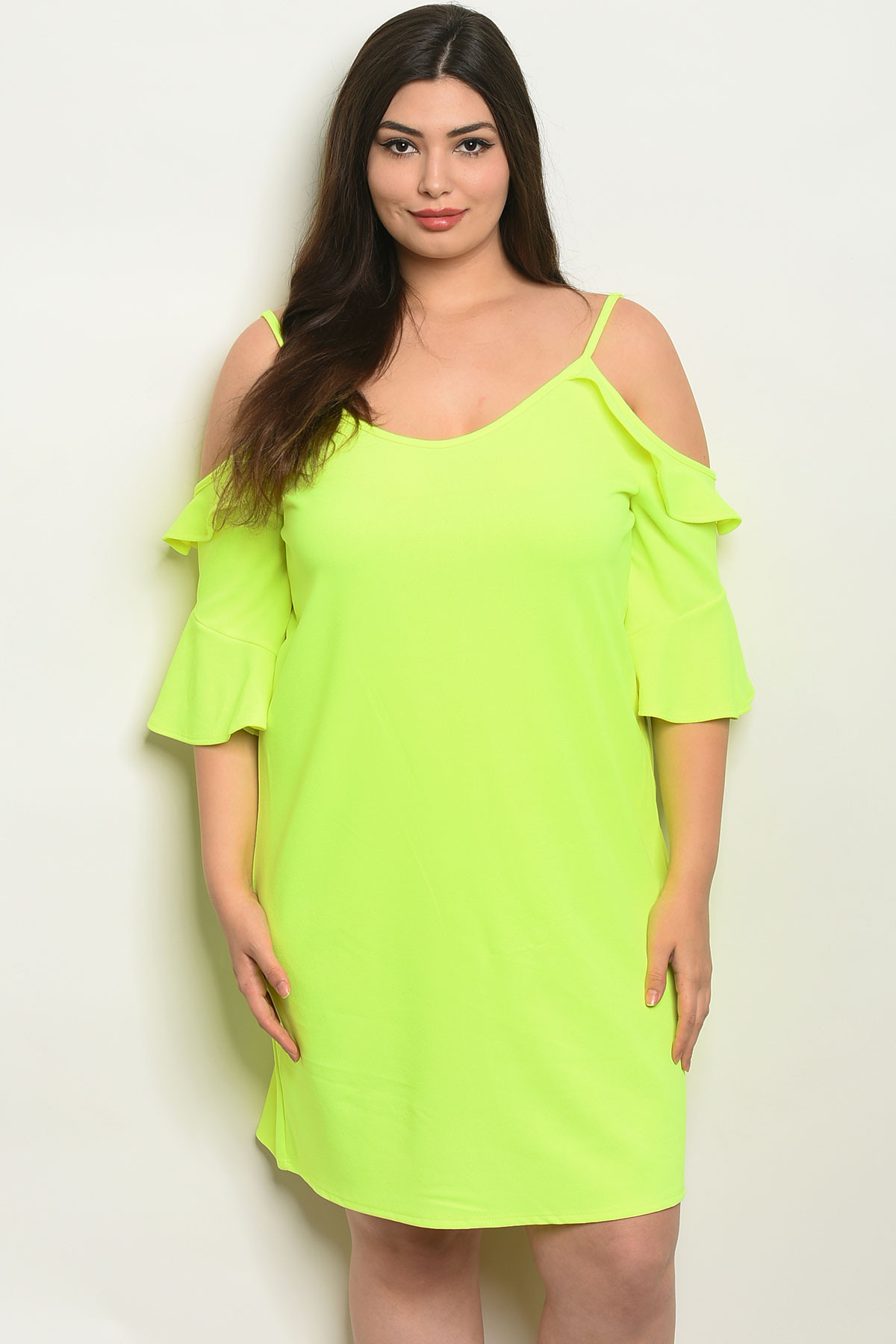 C51-A-5-D2056X NEON YELLOW PLUS SIZE DRESS 2-2-2