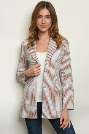 S23-11-3-J6597 TAUPE STRIPES BLAZER 3-2-1