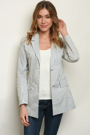 S23-10-2-J6597 BLUE STRIPES BLAZER 3-2-1