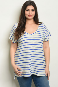 S7-3-4-T1913X IVORY BLUE STRIPES PLUS SIZE TOP 3-2-1