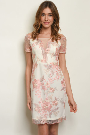 S2-7-1-D17869 IVORY PEACH WITH FLOWER EMBROIDERY DRESS 2-2-2