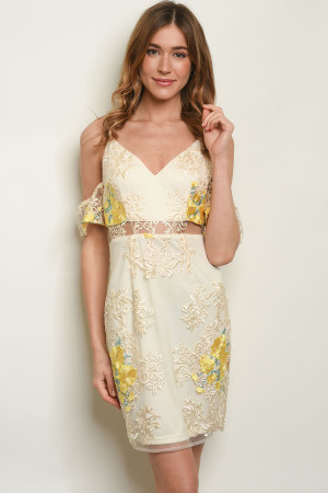 S2-7-2-D17802 IVORY YELLOW WITH FLOWER EMBROIDERY DRESS 2-2-2