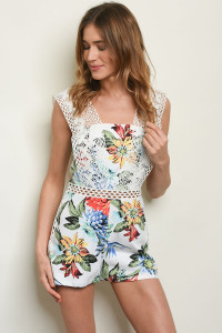 S20-9-2-R50312 OFF WHITE FLORAL ROMPER 2-2-2