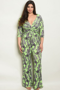 S22-3-4-J4222X NEON GREEN WITH PAISLEY PRINT PLUS SIZE JUMPSUIT 2-2-2