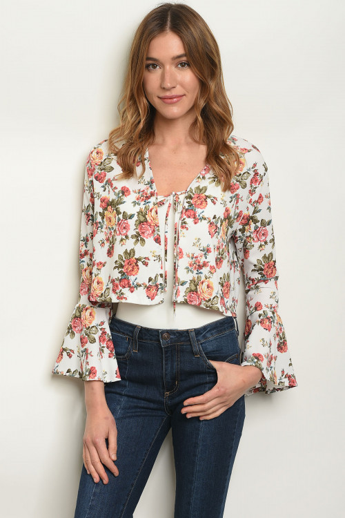 C1-A-T4810-1 IVORY FLORAL TOP 1-2-2