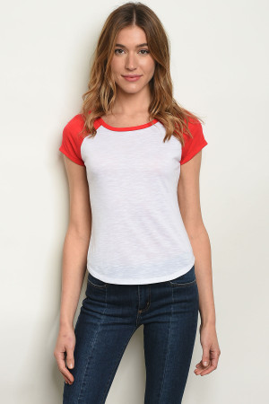 S21-1-4-T8864 WHITE RED TOP 2-2-2