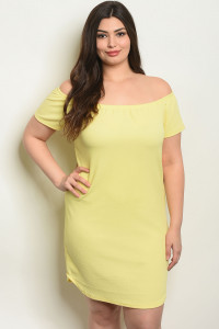 C26-A-2-R1069-3X YELLOW PLUS SIZE DRESS 2-2-2