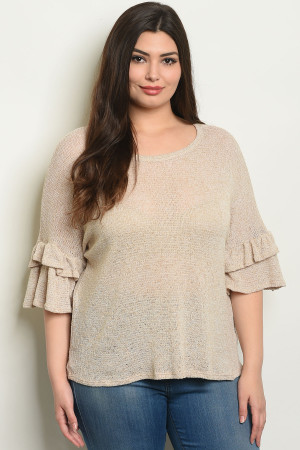 C30-B-4-T3016X TAUPE PLUS SIZE TOP 2-2-2