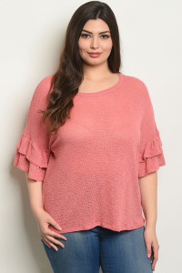 C28-B-6-T3016X MAUVE PLUS SIZE TOP 2-2-2