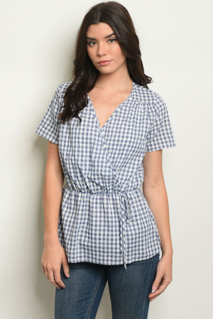 C14-B-6-T9220 BLUE CHECKERED TOP 2-2-2