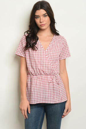 C14-B-7-T9220 RED CHECKERED TOP 2-2-2