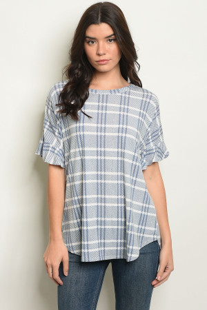 C48-B-4-T8003 BLUE CHECKERED TOP 2-2-2