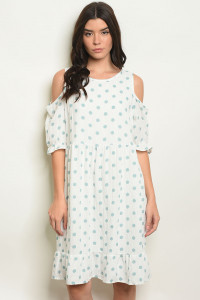 C78-A-7-D4270 OFF WHITE MINT POLKA DOTS DRESS 2-2-2