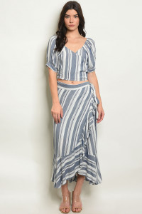 C42-A-3-SET100127 INDIGO STRIPES TOP & SKIRT SET 2-2-2