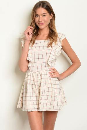 S25-5-2-R81311 NATURAL CHECKERED ROMPER 2-2-2