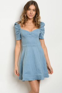 S25-4-3-D6490 LIGHT BLUE DENIM DRESS 2-2-2