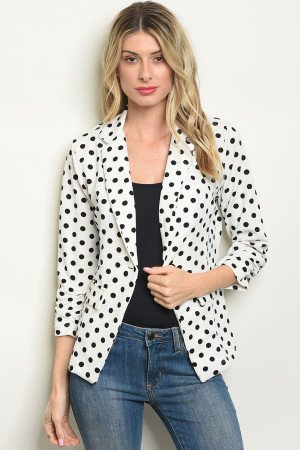 S11-14-3-J3185 WHITE BLACK WITH DOTS BLAZER 2-2-2