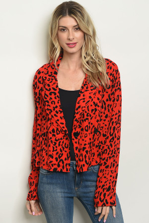 S11-4-1-T3710 RED ANIMAL LEOPARD PRINT BLAZER 2-2-2