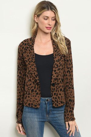 S11-11-2-T3710 BROWN ANIMAL LEOPARD PRINT BLAZER 2-2-2