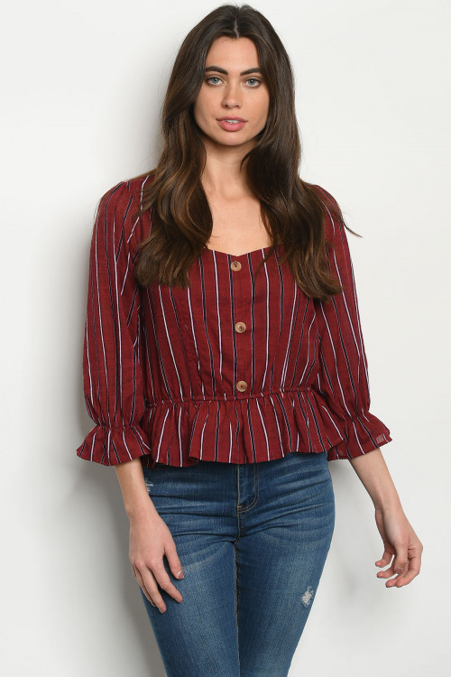 S11-19-3-T2551 BURGUNDY NAVY STRIPES TOP 2-2-2
