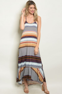 C25-A-4-D5541 MUSTARD NAVY STRIPES DRESS 2-2-2