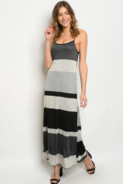 C15-A-6-D8704 BLACK GRAY DRESS 2-2-2