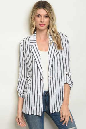 S11-17-3-B3640 WHITE NAVY STRIPES BLAZER 2-2-2