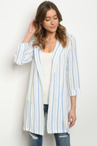 S12-10-2-C2970 IVORY BLUE STRIPES CARDIGAN 2-2-2