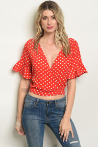 C38-A-2-T4727 RED WHITE POLKA DOTS TOP 2-2-2