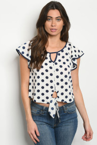 C36-B-3-T4851 IVORY NAVY POLKA DOTS TOP 2-2-2