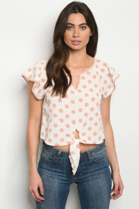 C40-B-3-T4851 IVORY PEACH POLKA DOTS TOP 2-2-2