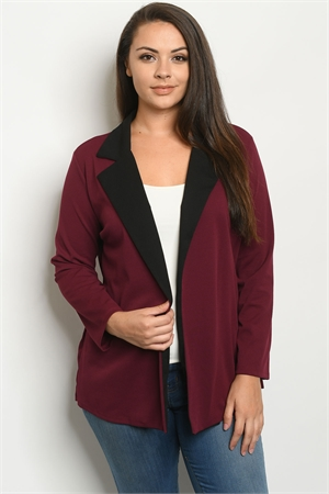 C63-A-5-J1968X BURGUNDY PLUS SIZE JACKET 2-2-2