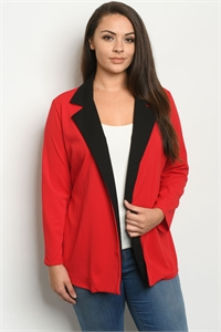C56-A-4-J1968X RED PLUS SIZE JACKET 2-2-2