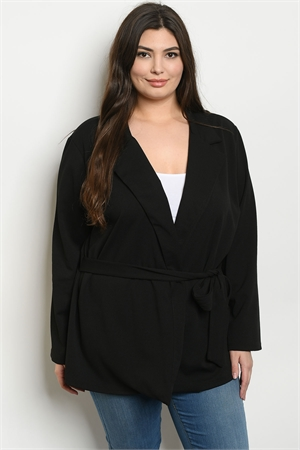 C60-A-4-J1968X BLACK PLUS SIZE JACKET 2-2-2