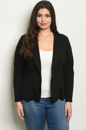 C68-B-6-B1963X BLACK PLUS SIZE BLAZER 2-2-2