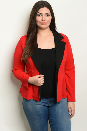 C70-B-4-B1963X RED PLUS SIZE BLAZER 2-2-2