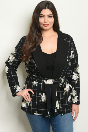 C71-A-3-J1968X BLACK WHITE CHECKERED WITH FLOWER PLUS SIZE JACKET 2-2-2