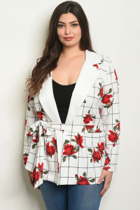 C78-A-2-J1968X OFF WHITE CHECKERED WITH FLOWER PLUS SIZE JACKET 2-2-2