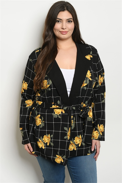C79-A-5-J1968X BLACK YELLOW CHECKERED WITH FLOWER PLUS SIZE JACKET 2-2-2