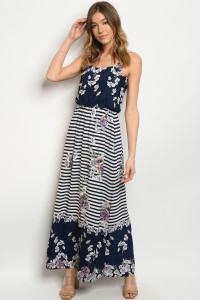 7-B-D7691 NAVY LAVENDER STRIPES DRESS 2-2-2