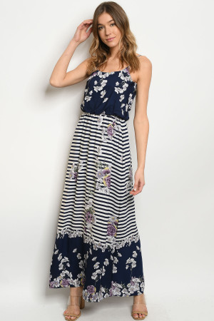 Y-B-D7691 NAVY LAVENDER STRIPES DRESS 2-2-2