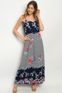 Y-B-D7691 NAVY CORAL STRIPES DRESS 2-2-2
