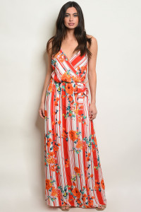 C28-A-3-D7693 RED STRIPES WITH FLOWER DRESS 2-2-2
