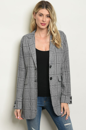S15-1-2-J30355 GRAY CHECKERD BLAZER 2-2-2