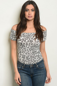 S22-3-3-B31406 WHITE BLACK CHEETAH LEOPARD PRINT BODYSUIT 2-2-2
