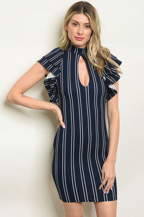 C17-A-3-D6237 NAVY WHITE STRIPES DRESS 2-2-2