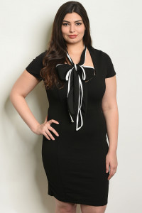 S15-2-3-D7524X BLACK PLUS SIZE DRESS 2-2-2