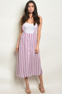 S25-4-3-O60478 LAVENDER STRIPES OVERALL 2-2-2
