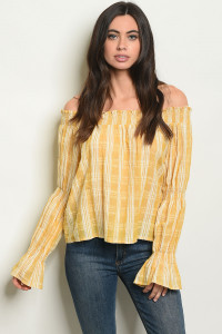 S14-1-3-T24465 YELLOW STRIPES TOP 2-2-2