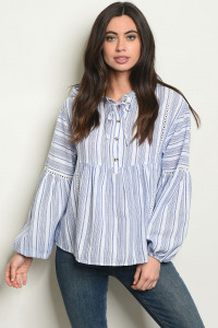 S12-1-3-T24433 BLUE STRIPES TOP 2-2-2